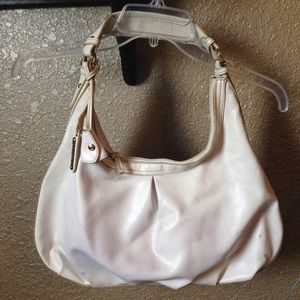 Liz Claiborne white purse with pink lining